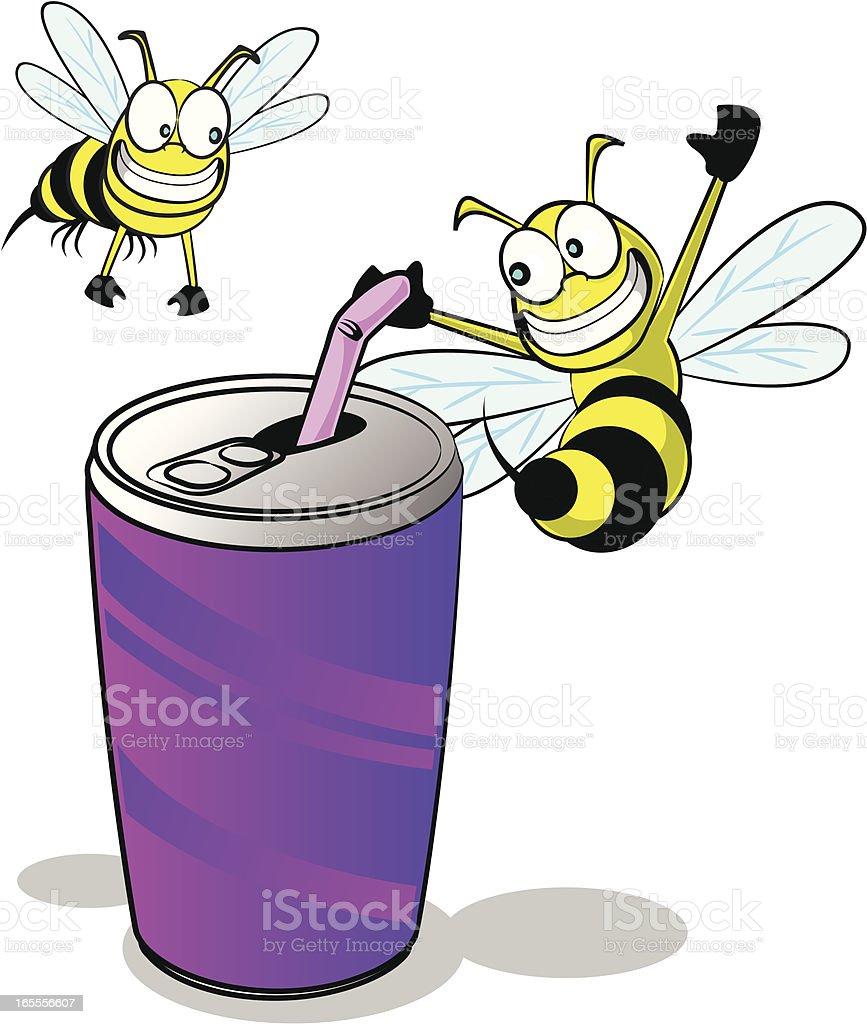 Wasps around a Soda Can Cartoon vector art illustration