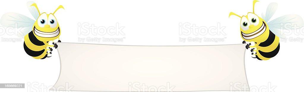 Wasps holding a large blank banner vector art illustration
