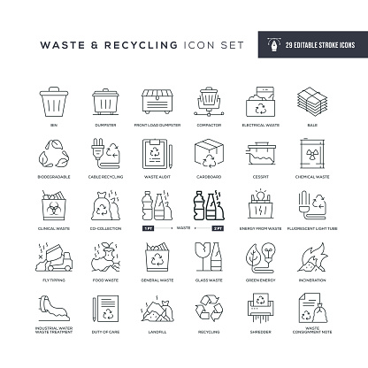 Waste and Recycling Editable Stroke Line Icons