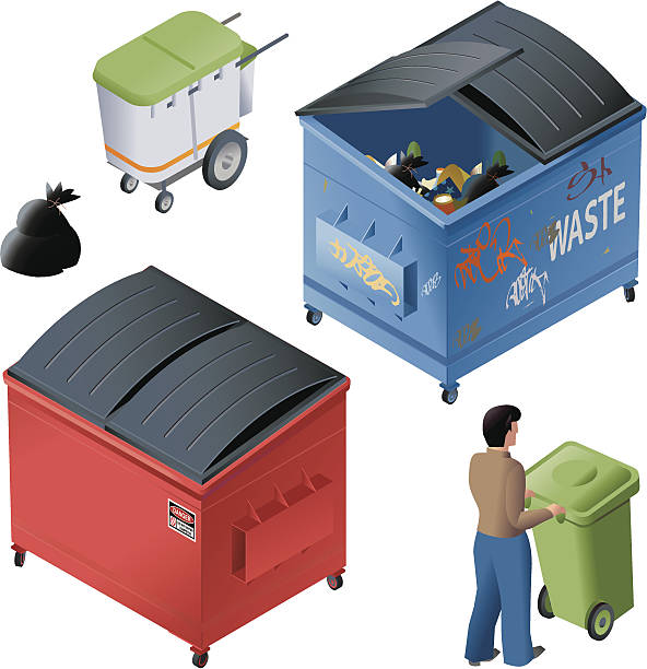 Waste containers vector art illustration