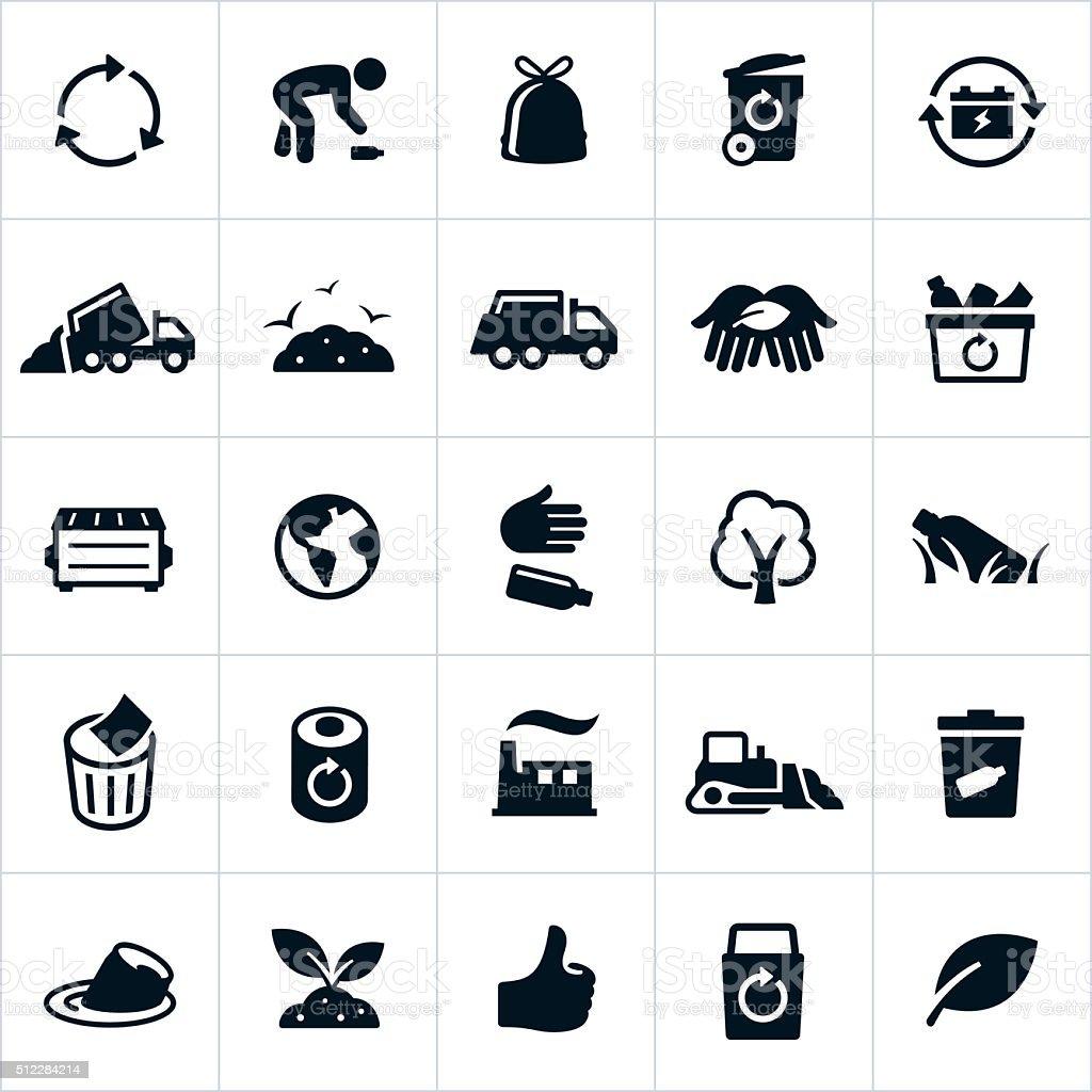 Reciclar los iconos de gestión de residuos y - ilustración de arte vectorial