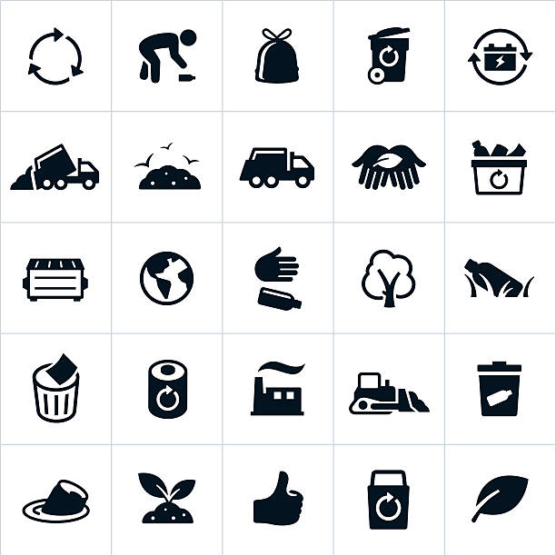 Waste Management and Recycling Icons vector art illustration