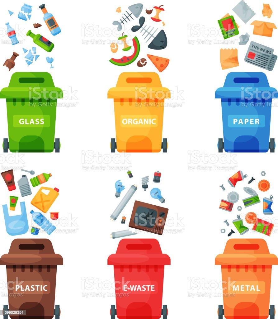 Gestión concepto segregación separación de basura reciclaje ilustración de vector eliminación basura bin de clasificación de residuos - ilustración de arte vectorial