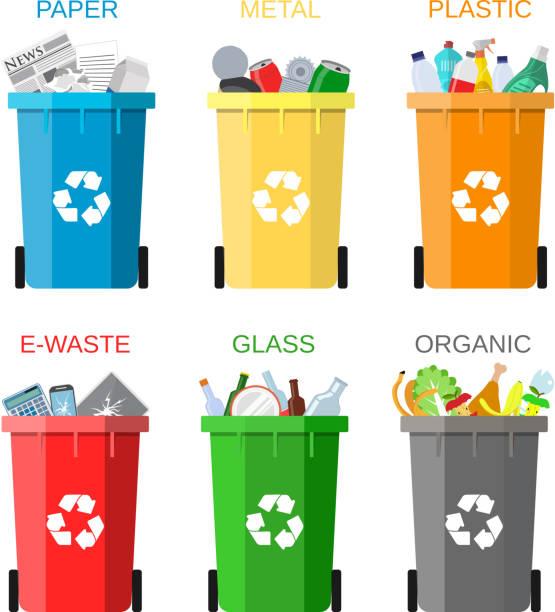 waste management concept - karton zbiornik stock illustrations