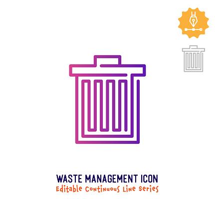 Waste Management Continuous Line Editable Icon