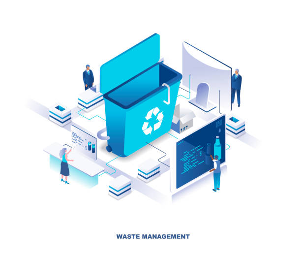 Waste management or disposal service, recycling technology isometric landing page. Concept with tiny people stand around giant trash bin and sorting garbage. vector art illustration