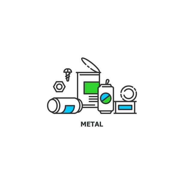 abfälle aus metall recycling konzept symbol im liniendesign, flache vektorgrafik isoliert auf weißem hintergrund - altglas stock-grafiken, -clipart, -cartoons und -symbole