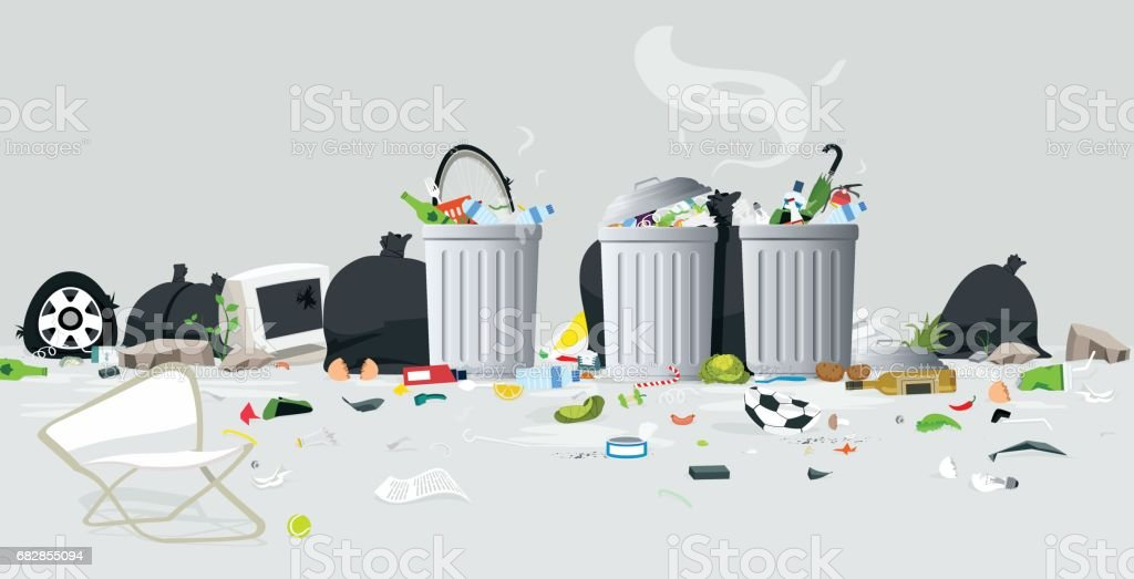 Waste of garbage vector art illustration