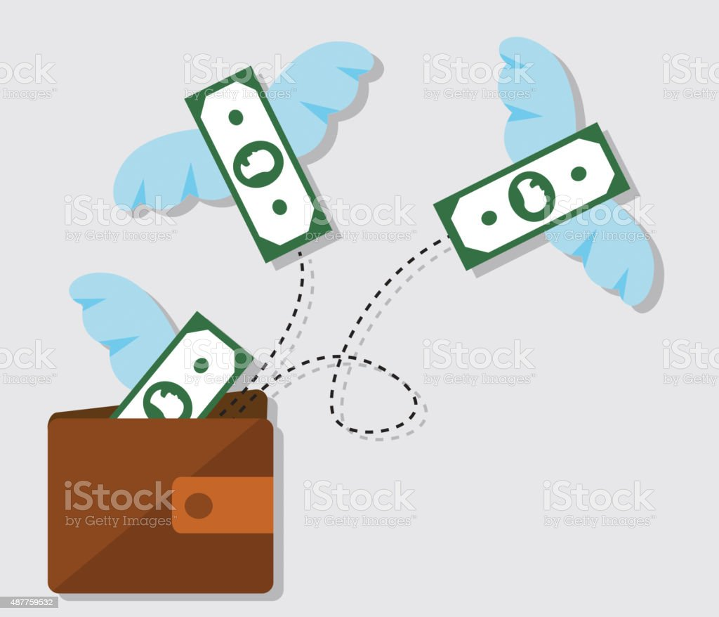 waste of money and distribution of debt vector art illustration