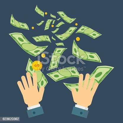 Waste of money concept. Dollar bills flying out of hands. Concept of a careless waste of money bankruptcy, waste. Flat vector cartoon money illustration. Objects isolated on a white background.