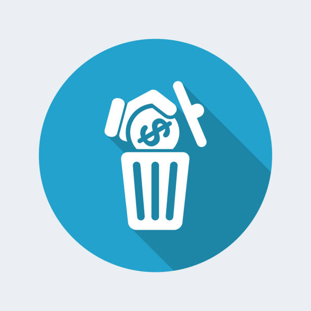 Waste of money Flat and isolated vector illustration on blue round icon with modern design and long shadow dilapidate stock illustrations