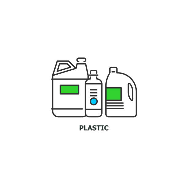 Waste plastic recycle concept icon in line design, vector flat illustration isolated on white background Waste plastic recycle concept icon in line design, vector flat illustration isolated on white background. bottle bank stock illustrations