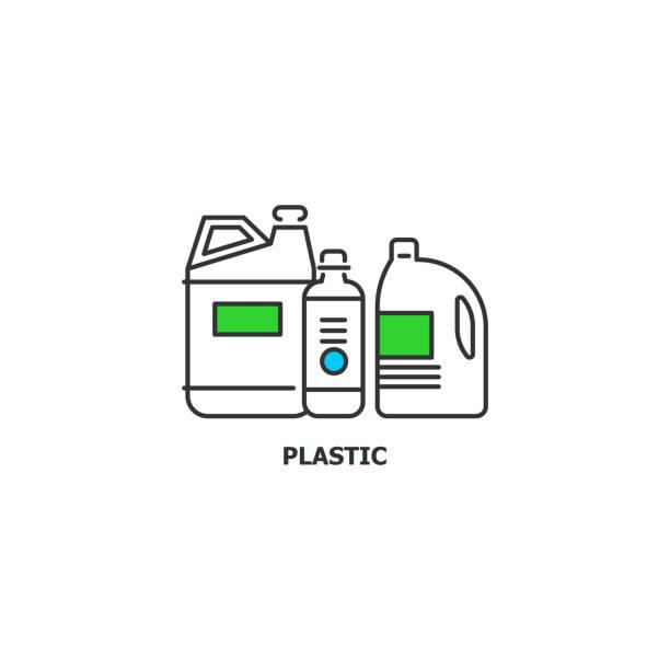 abfälle aus kunststoff recycling konzept symbol im liniendesign, flache vektorgrafik isoliert auf weißem hintergrund - altglas stock-grafiken, -clipart, -cartoons und -symbole