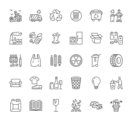 Waste recycle line icons set. Trash bin, bag, garbage types - food, plastic, battery, organic, paper, metal, vector illustrations. Outline flat signs for rubbish sorting management