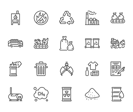 Waste recycling flat line icons set. Garbage bag, truck, incinerator factory, container, bin, rubbish dump vector illustration. Outline signs of trash management. Pixel perfect. Editable Stroke.