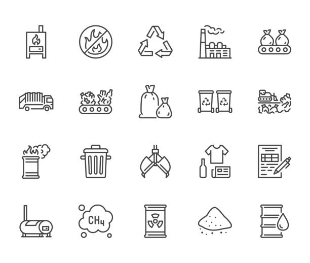 Waste recycling flat line icons set. Garbage bag, truck, incinerator factory, container, bin, rubbish dump vector illustration. Outline signs of trash management. Pixel perfect. Editable Stroke Waste recycling flat line icons set. Garbage bag, truck, incinerator factory, container, bin, rubbish dump vector illustration. Outline signs of trash management. Pixel perfect. Editable Stroke. dumpster fire stock illustrations