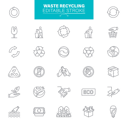 Waste Recycling Icons Editable Stroke