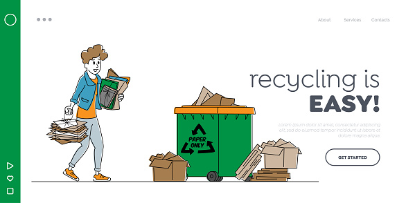 Waste Reuse Landing Page Template. Female Character Throw Paper Trash into Recycling Litter Bin. Ecology Protection, Woman Eco Activist Earth Pollution Problem Solve. Linear Vector Illustration