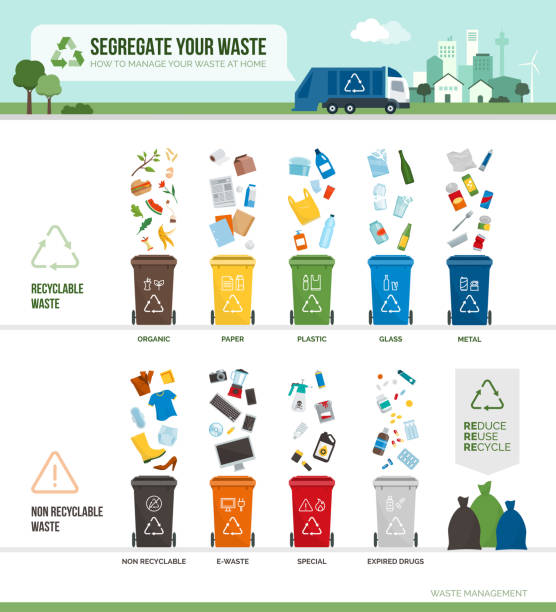 abfallabtrennung und recycling infografik - recycling stock-grafiken, -clipart, -cartoons und -symbole