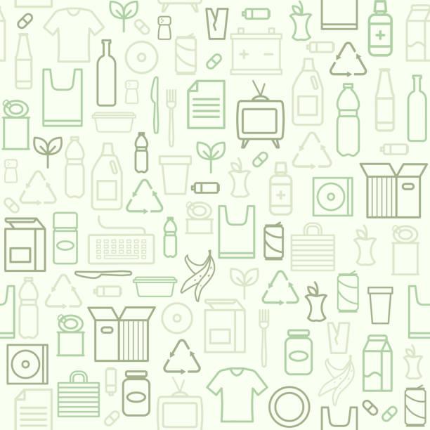 ilustrações de stock, clip art, desenhos animados e ícones de waste separate collection and recycling pattern - box separate life