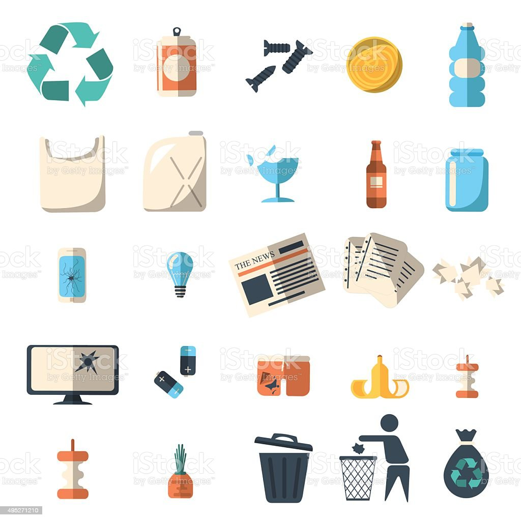 Waste sorting and recycling isolated symbols vector art illustration