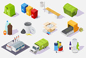 Waste sorting and recycling process isometric icon set, vector illustration isolated on white background. Garbage recycling equipment, plant, trash truck and cans, plastic paper glass household waste.