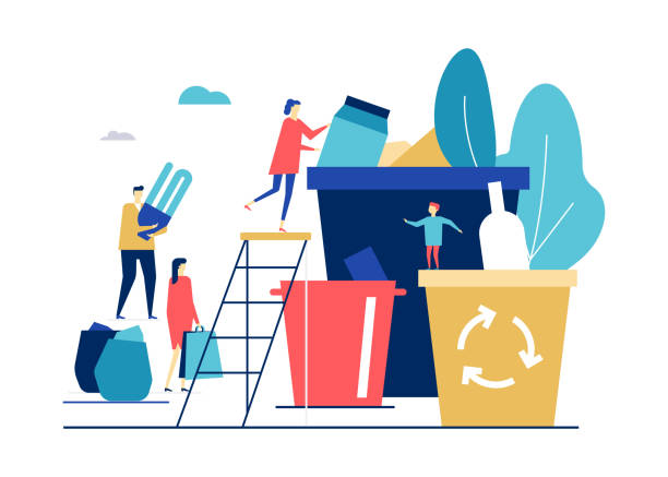 waste sorting - flat design style colorful illustration - recycling stock illustrations