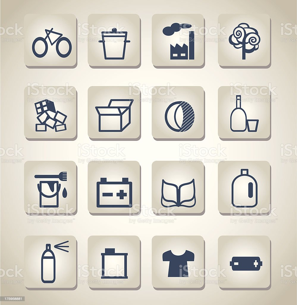 waste sorting icons royalty-free stock vector art