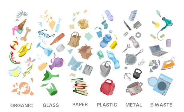 illustrations, cliparts, dessins animés et icônes de gestion du tri des déchets concept séparation ordures élimination poubelle illustration - dechets