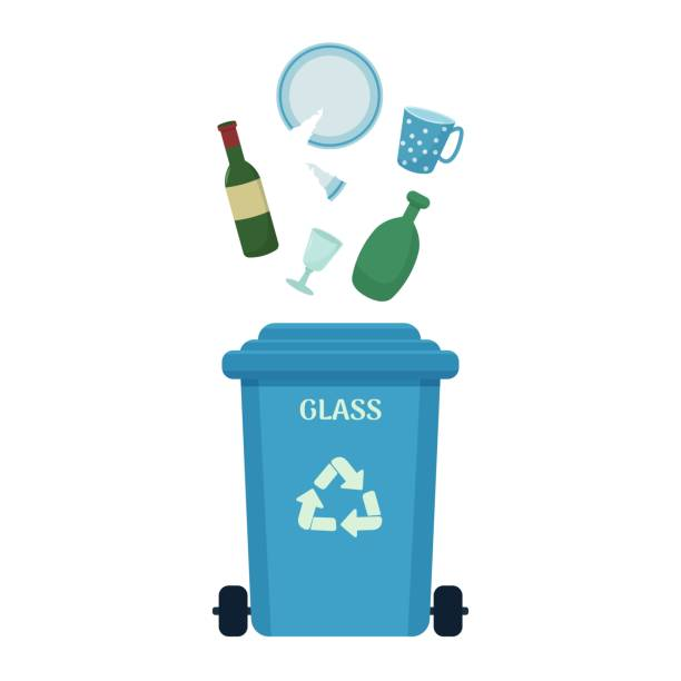 abfallsortierungskonzept, mülleimer mit glas müll isoliert auf weißem hintergrund. ökologie und umwelt sparen. - altglas stock-grafiken, -clipart, -cartoons und -symbole