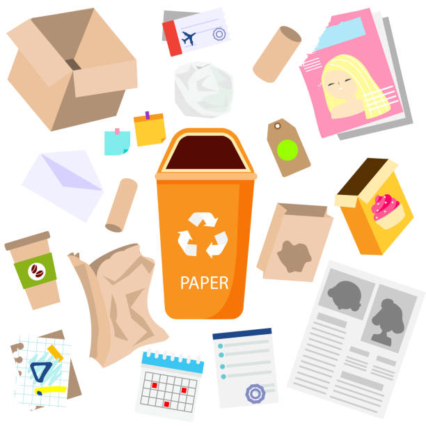 ilustrações de stock, clip art, desenhos animados e ícones de waste sorting. paper garbage. boxes, newspaper, coffee cups, broken things and other trash icons. - box separate life