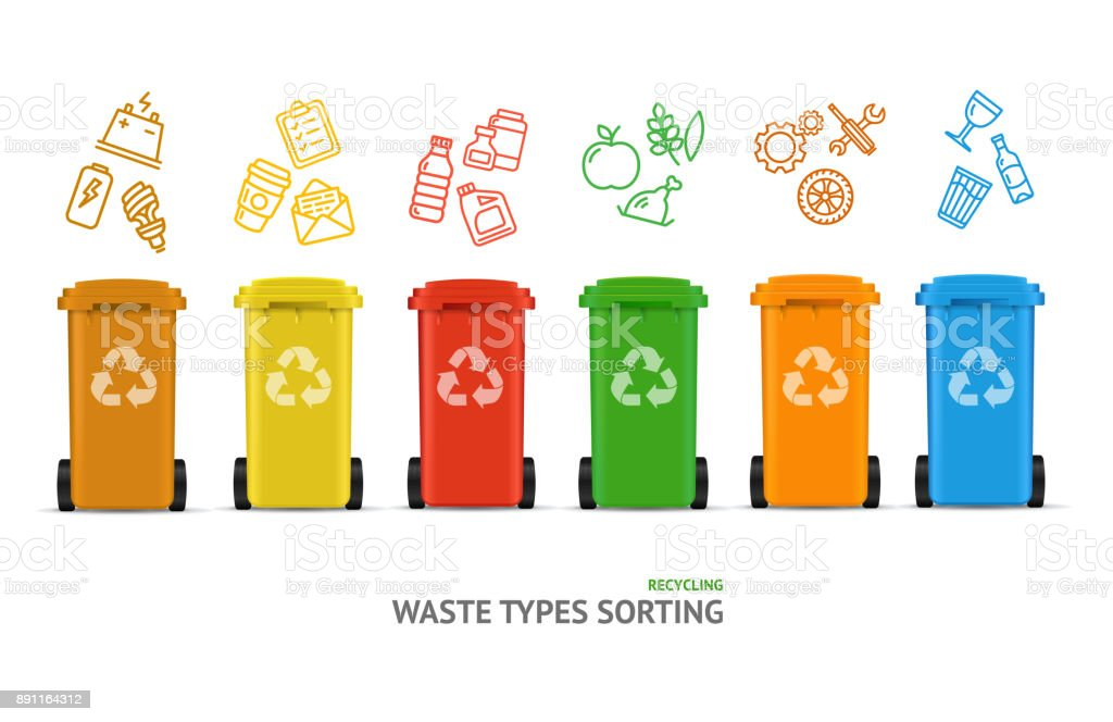 Waste Sorting Types Concept. Vector royalty-free waste sorting types concept vector stock illustration - download image now