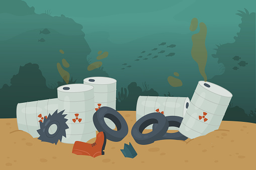 Waste trash pollution in ocean sea water and bottom, pile of garbage car tire, oil tanker