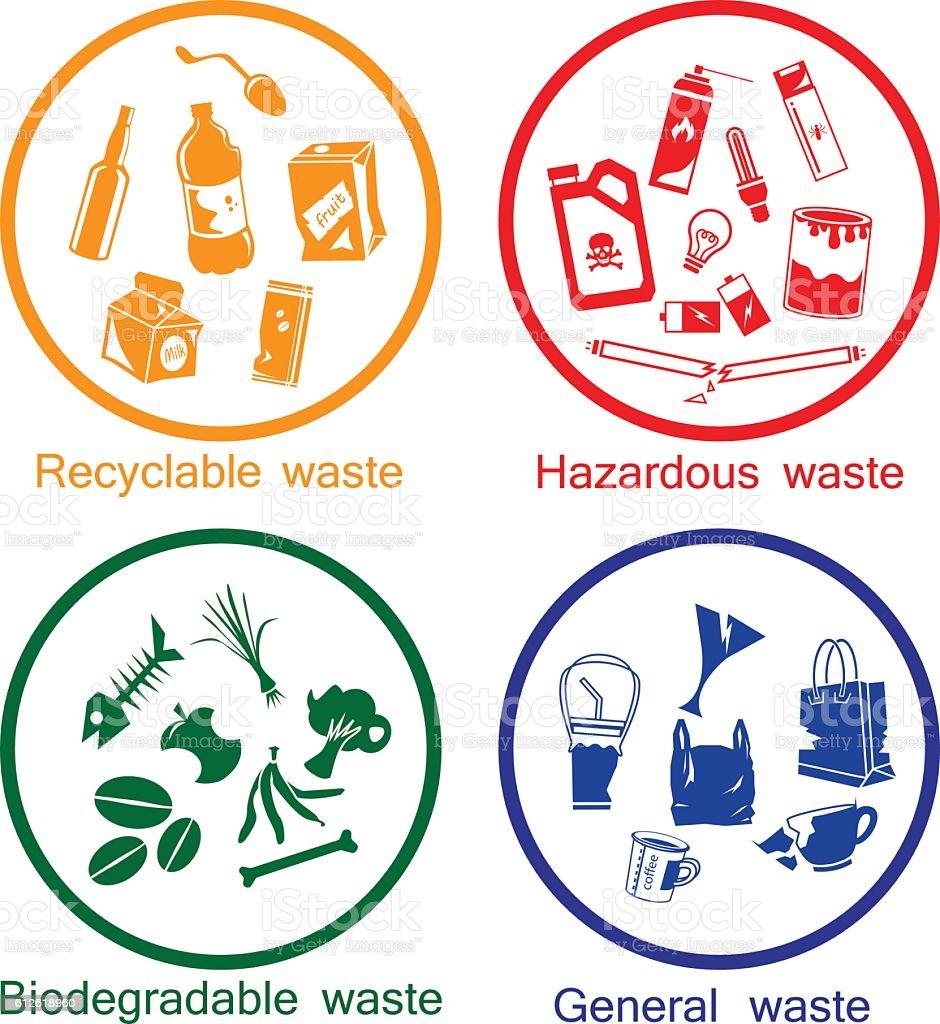 waste types icon set - ilustración de arte vectorial