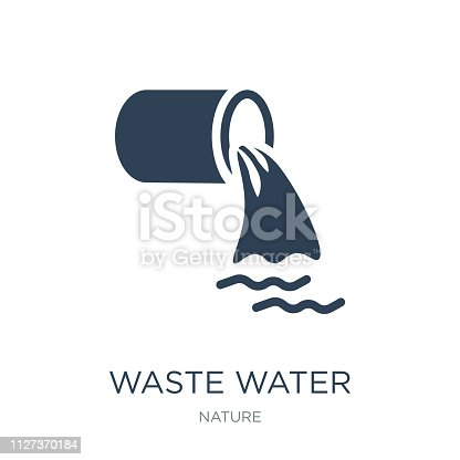waste water icon vector on white background, waste water trendy filled icons from Nature collection