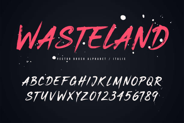 wasteland vector brush style font, alphabet, typeface - alphabet drawings stock illustrations