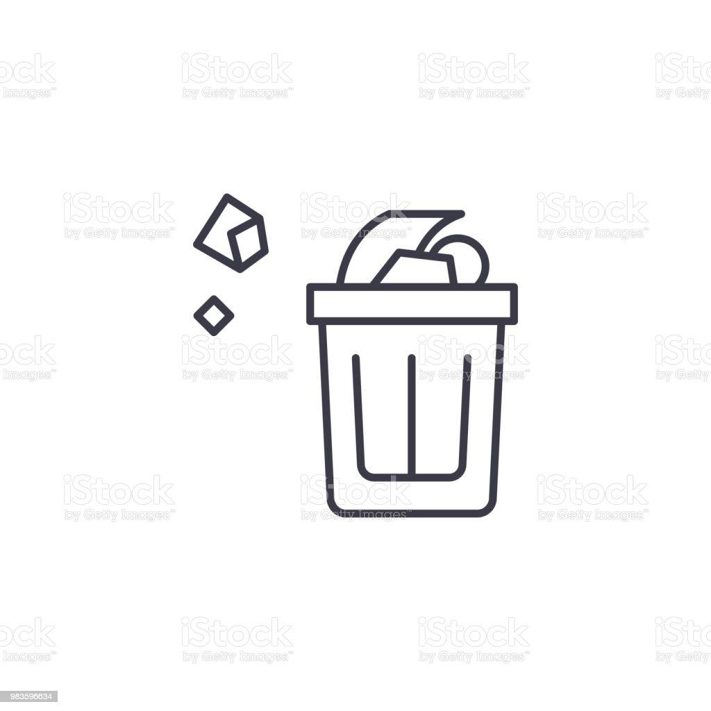 Wastepaper basket linear icon concept. Wastepaper basket line vector sign, symbol, illustration. royalty-free wastepaper basket linear icon concept wastepaper basket line vector sign symbol illustration stock illustration - download image now