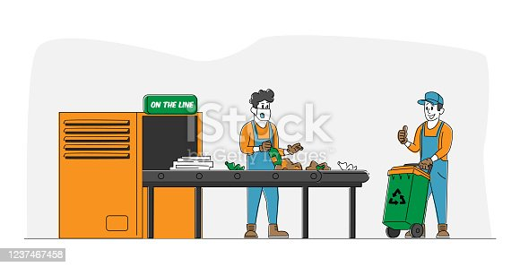 Wastes Recycling Technological Process. Workers Characters in Robe Select and Sort Litter at Factory Conveyor Belt. Man with Recycle Litter Bin, Manufacturing. Linear People Vector Illustration