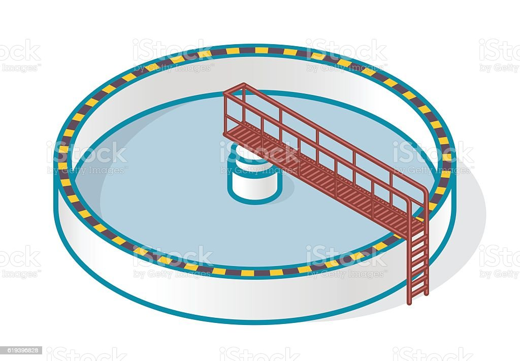 Wastewater treatment plant in stylized outline vector symbol. Isometric infographics. vector art illustration