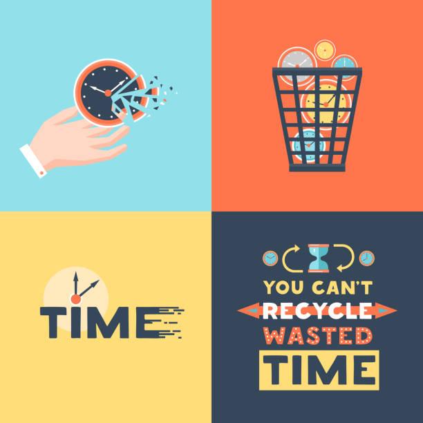ilustraciones, imágenes clip art, dibujos animados e iconos de stock de concepto de pérdida de tiempo - lost