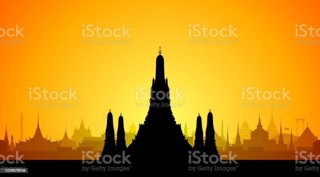 와트 아 룬, 방콕 (모든 건물은 별도 완전 한) - 로열티 프리 건물 외관 벡터 아트