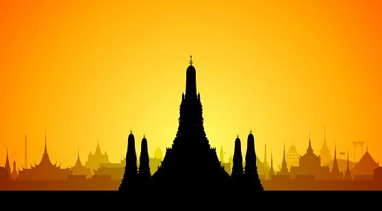 와트 아 룬 방콕 건물 외관에 대한 스톡 벡터 아트 및 기타 이미지