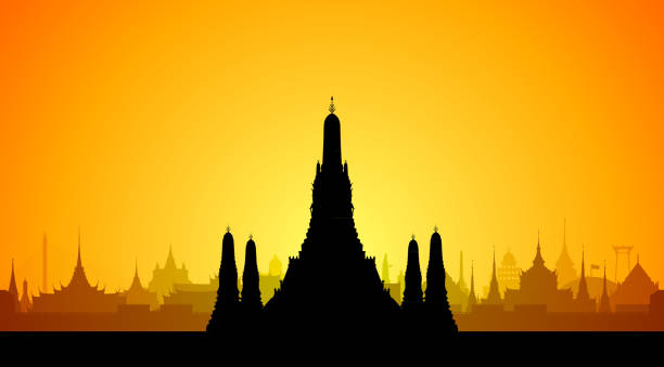 wat arun, bangkok (all buildings are separate and complete) - таиланд stock illustrations