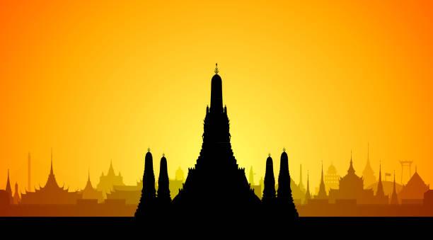 stockillustraties, clipart, cartoons en iconen met wat arun, bangkok (alle gebouwen zijn afzonderlijke en volledige) - thailand