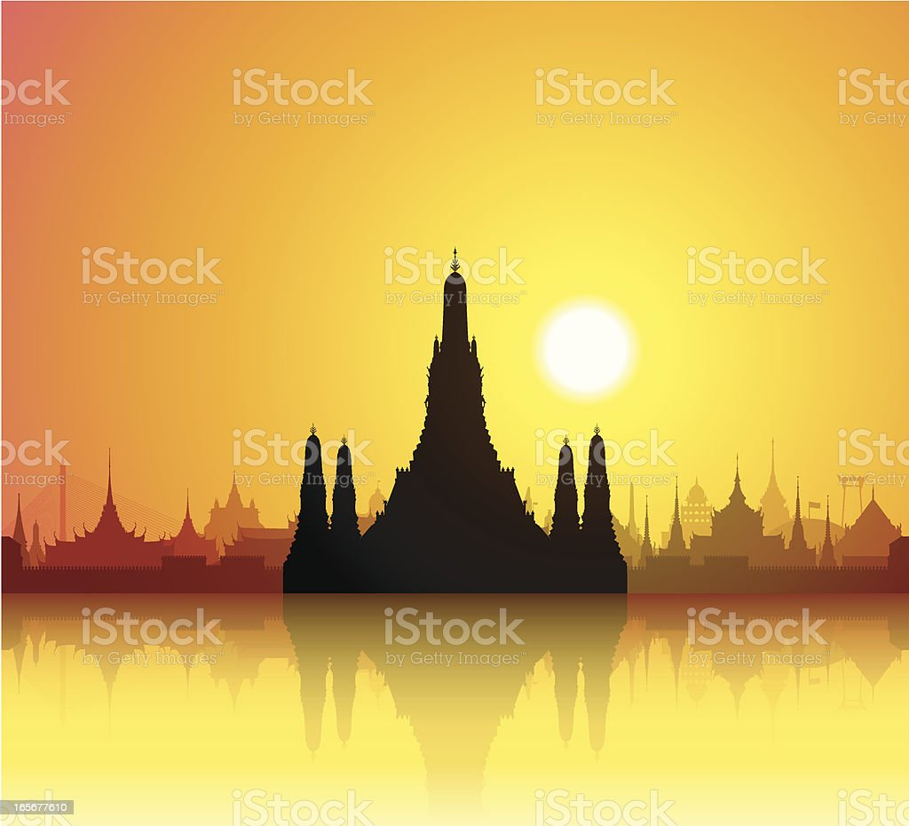 Wat Arun, Bangkok royalty-free stock vector art