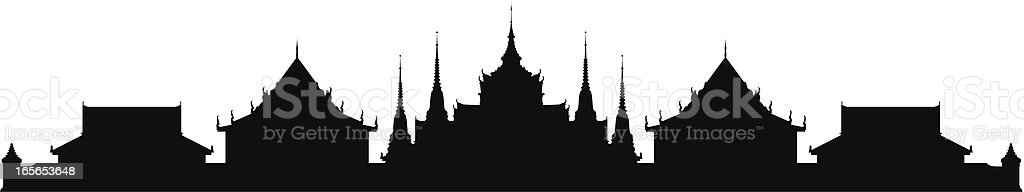 Wat Pho, Bangkok (All Buildings Are Detailed, Complete and Moveable) royalty-free wat pho bangkok stock vector art & more images of back lit
