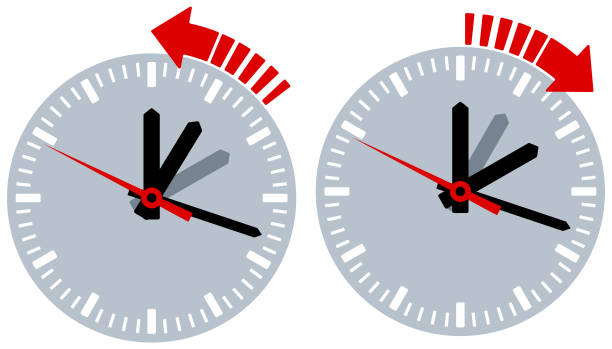 watch day light calibrate - daylight savings time stock illustrations, clip art, cartoons, & icons
