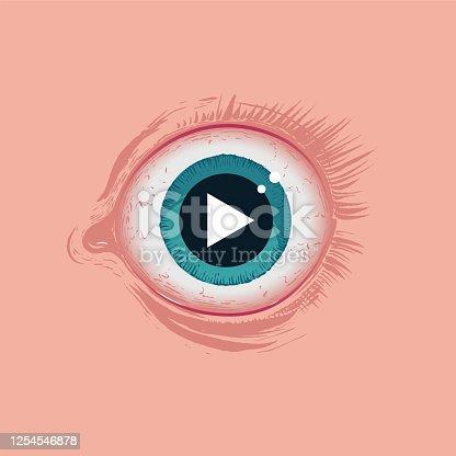 Auge Video anschauen streaming Angst Gefahr Jugendschutz, FSK, starren, play symbol