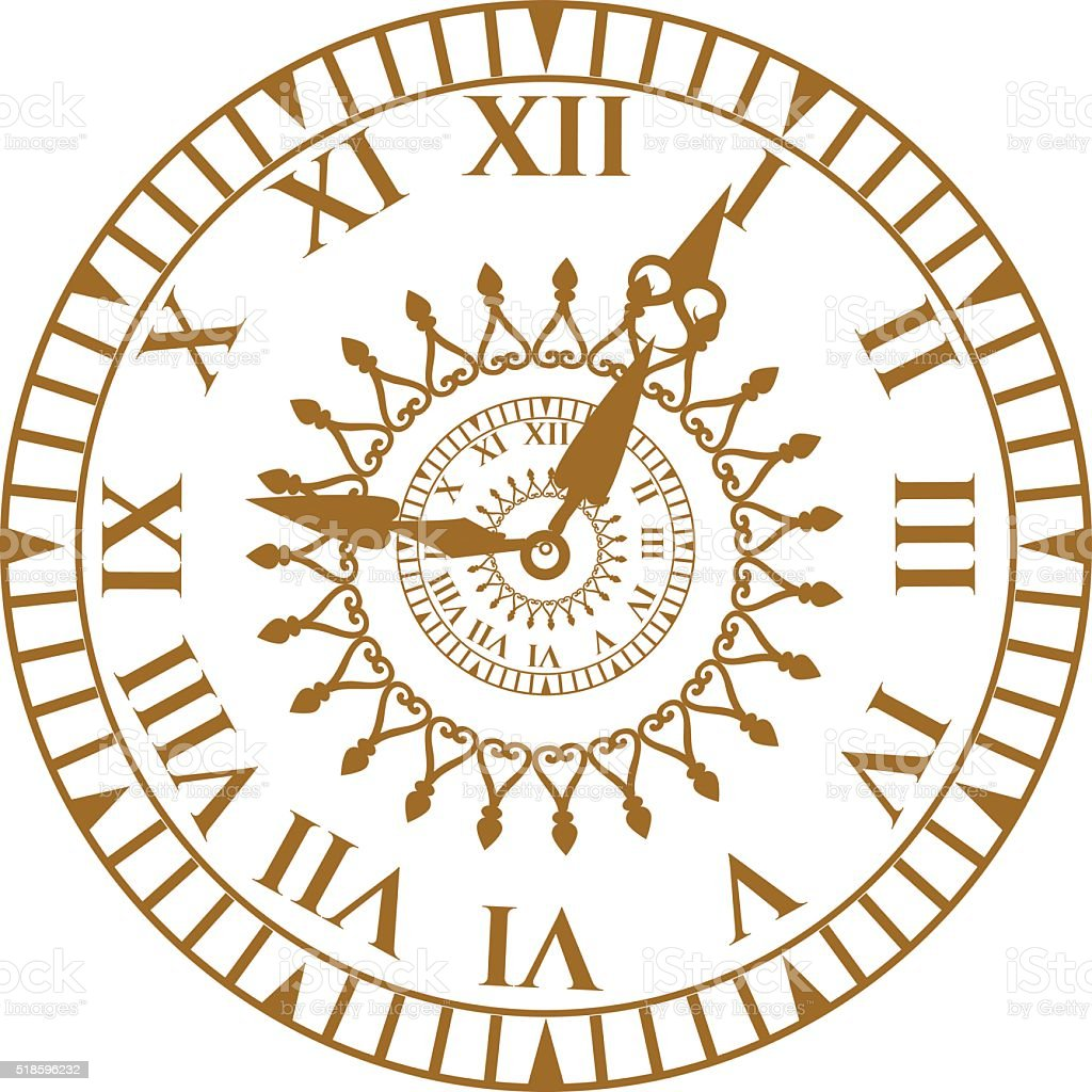 Watch face antique clock vector illustration vector art illustration
