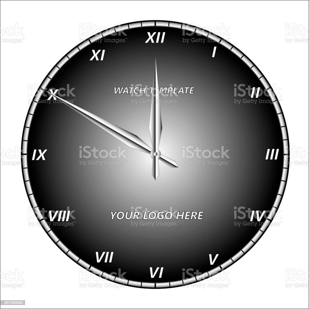 99afed34a7 Modelo do rosto de relógio com ponteiros das horas e minutos e com  algarismos romanos.